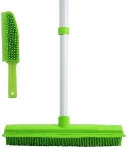 Long Handled Push Broom with Soft Rubber Bristles