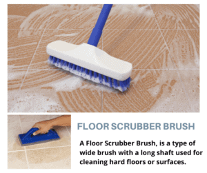 AFloor Scrubber Brush, is a type of widebrushwith a long shaft used for cleaning hardfloorsor surfaces.